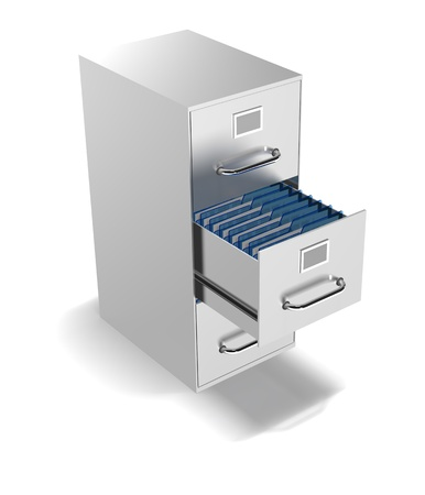 a 3d filing cabinet with  one drawer open with files showing Stock Photo - 13042115