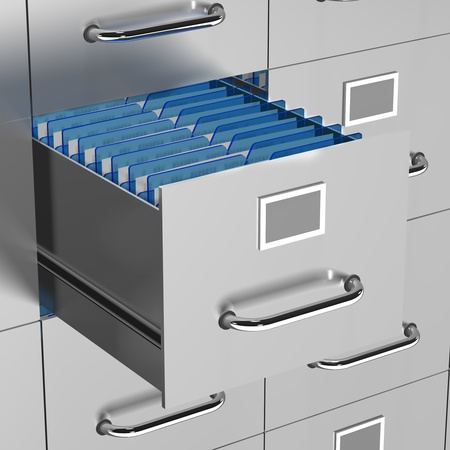 drawers: a file drawer is open with office documents on show