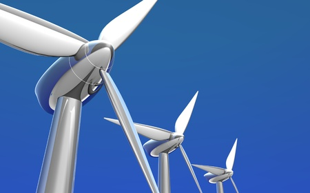 futuristic shiny silver wind turbines on a nice day with bright blue sky