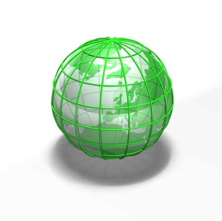 a green earth sits against a white background with shadows