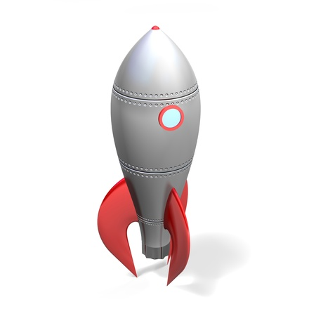 a slick metal space rocket stands upright ready for take off on a white background