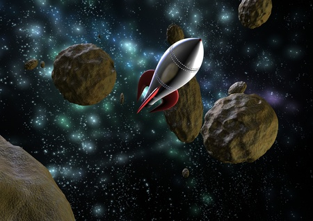 a space rocket flying through asteroids in space Stock Photo - 13042182