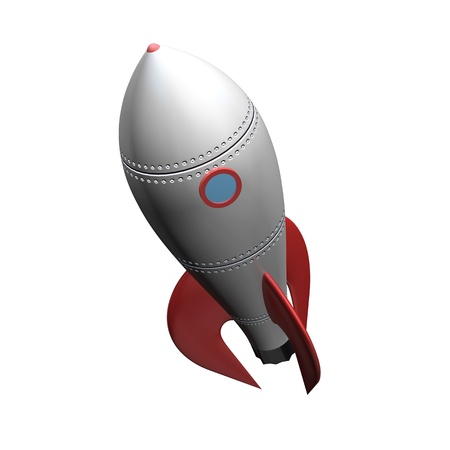 a slick metal space rocket on a slight angle ready isolated on a white background  Stock Photo