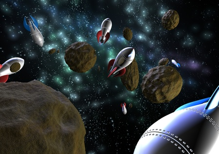 space rockets flying through asteroids in space