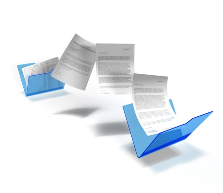 files being transfered from one document to another Stock Photo