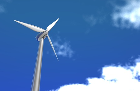 a shiny silver wind turbine alone on a nice day with bright blue sky and clouds  Stock Photo