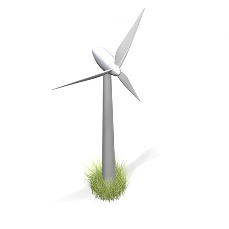 a shiny silver wind turbine and grass on a white background  Stock Photo