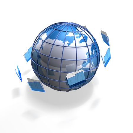 outsourcing: a blue business globe with files flying around it Stock Photo