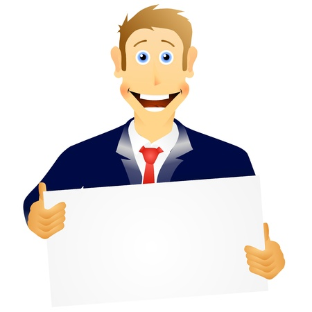 an illustration of a business man holding a empty sign  Eps 10 Stock Vector - 13042416