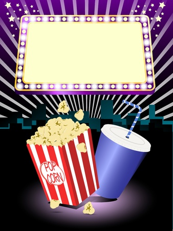 Popcorn and soda illustration stand with a cinema style background with a display sign at the top Eps 10 Illustration