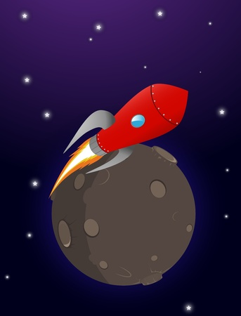 booster: un cohete despega de un planeta en gradientes espaciales y opacidad para Eps 10