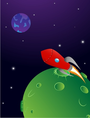 opacity: a rocket takes off from a planet in space  gradients and opacity used  Eps 10