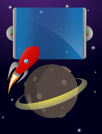booster: un cohete despega de un planeta en el espacio con un signo de espacio para el texto y los gradientes de opacidad para Eps 10