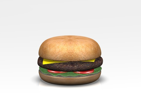 A 3D burger lay against a white background with shadows Stock Photo - 13766302