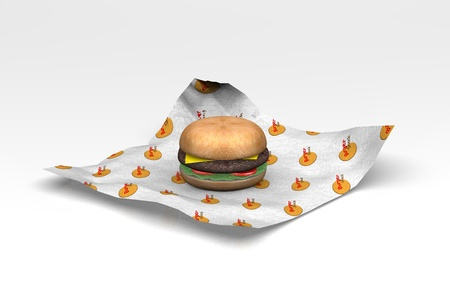 A 3D burger lay on the wrapper with a made up burger logo on it  Stock Photo