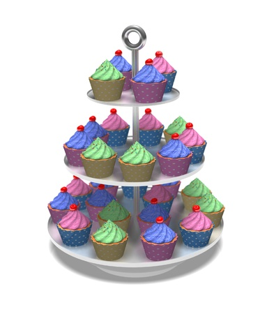 A vast arrangement of 3D multicolored cup cakes against a white background  photo