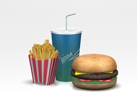 A 3D render of a fast food restaurant meal with burger, french fries and a soda Stock Photo - 13766252