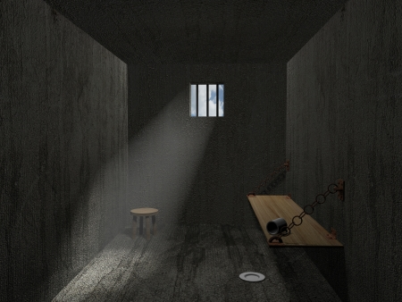 prison system: A 3D prison room with light entering the room through the window
