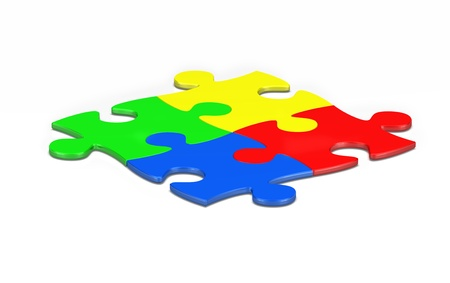 coming together: 4 3d puzzle pieces stuck together to symbolize a business metaphor of coming together  Stock Photo