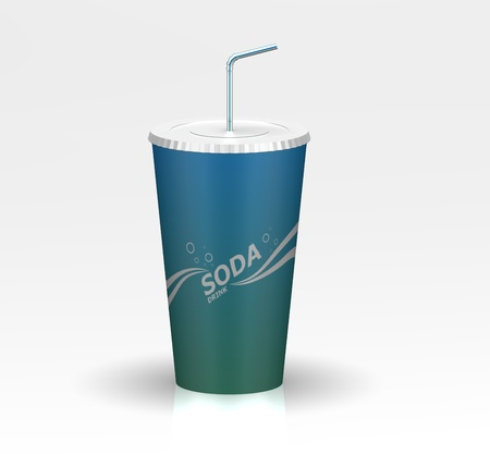 3d fast food soda with design on it against a background with a reflection and shadow Stock Photo - 13766237
