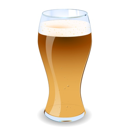 A illustration of a pint of lager with froth and bubbles