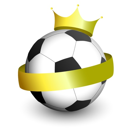 An illustration of a football with a golden crown and banner on it  Vector