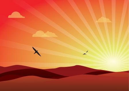 hilly: Lovely sunset over a vast hilly landscape view  Illustration