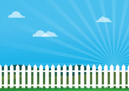 a illustration of a white picket fence, Image contains lots of space for copy Illustration