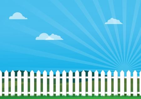 une illustration d'une clôture blanche, l'image contient beaucoup d'espace pour la copie