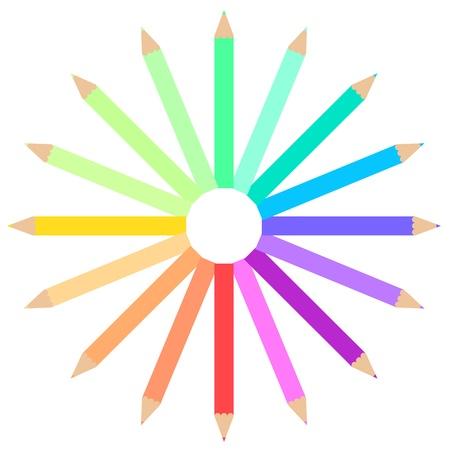 a Colourful pencil wave frame, Eps version 10