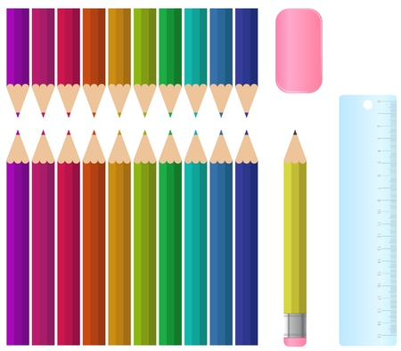 A colourful school stationary set, complete with eraser and a ruler  Eps V10 Vector