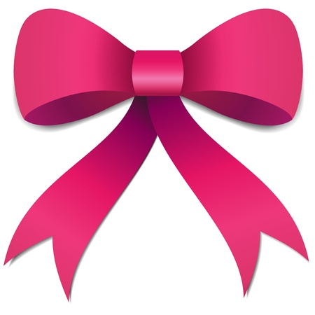 Big Pink Girls bow illustration with gradients and opacity, Eps version 8