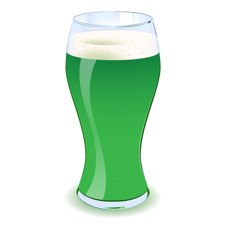 An illustration of a St Patricks green beer with bubbles in it  Eps V10 Vector