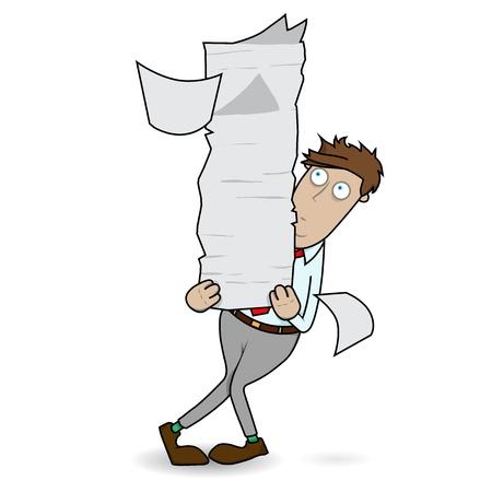 Employé de bureau est confronté à des monticules de travail papier à la main