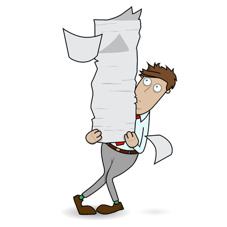 Office worker is faced with mounds of paper work in his hand  Vector