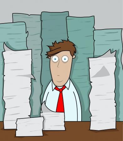 Employé de bureau est confronté à des monticules de paperasse