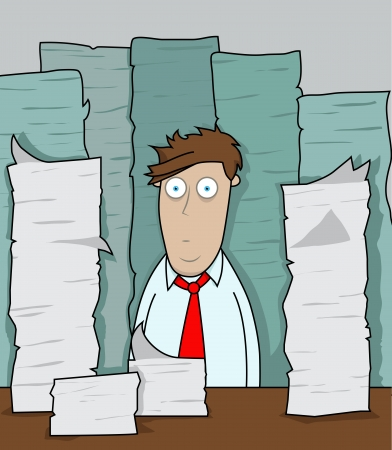 Office worker is faced with mounds of paper work