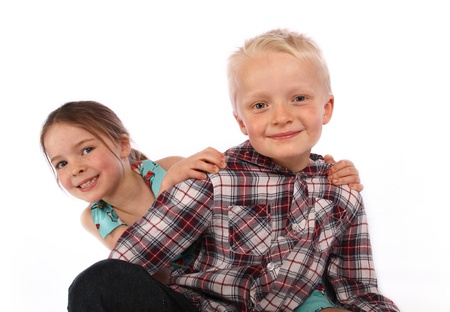 brother and sister pose for a photo together on a white background Stock Photo - 15644083