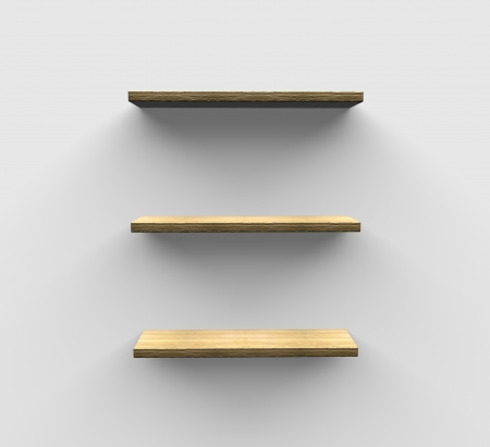 three shelves: three wall shelves for product display on a white wall with shadow