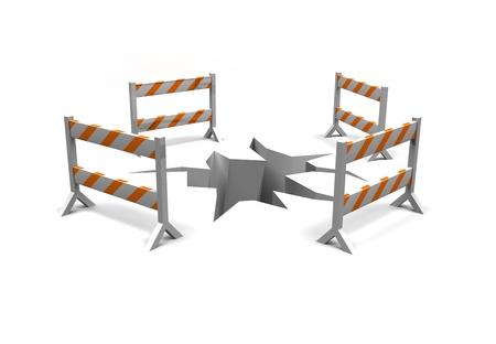 barrières de construction autour d'une fissure dans le sol comme un avertissement Banque d'images