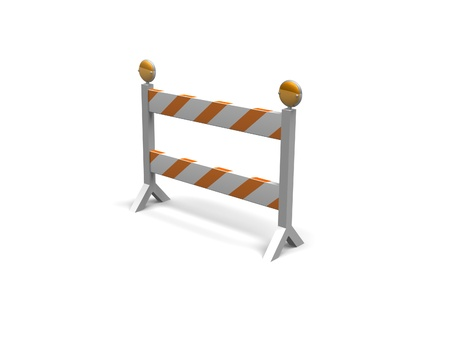 orange and white construction barrier on a white background Stock Photo - 16967576