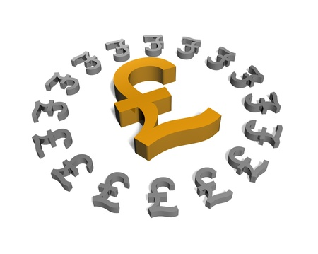 a selected gold pound sign surrounded by smaller silver pound signs Stock Photo - 16967657