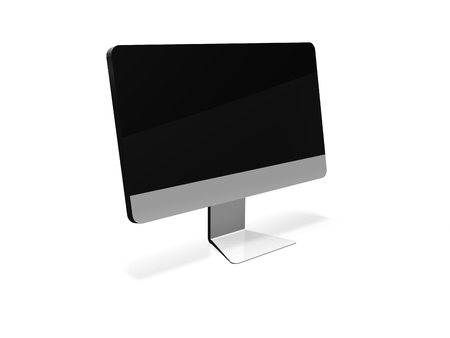 a modern looking computer monitor on a white background with shadows  The screen is blank for images to be placed on to it  Stock Photo - 16967585
