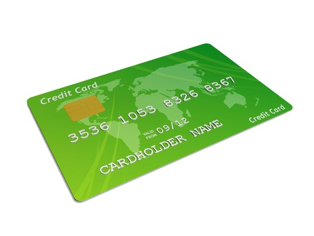 a green credit card against a white background