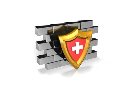 firewall: a red shield with a white cross against a wall to indicate internet and computer  Stock Photo
