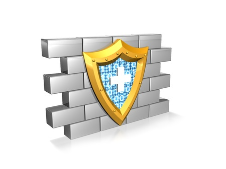 a gold and blue shield against a wall to indicate internet and computer protection against viruses Stock Photo - 16979769