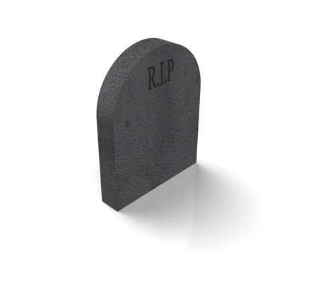 a grey gravestone with the word RIP on it against a white background  photo