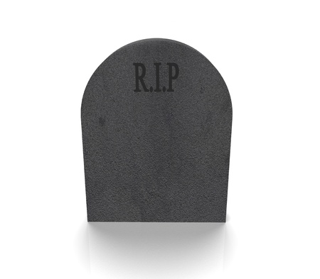a grey gravestone with the word RIP on it against a white background Stock Photo - 16979773