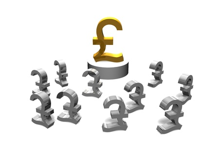 a gold pound sign on a pedestal with other smaller pound signs around it Stock Photo - 16967656