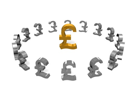 a selected gold pound sign surrounded by smaller silver pound signs  Stock Photo - 16967692
